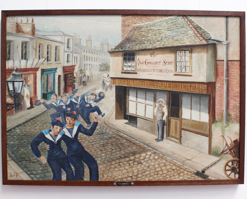 """La Bordée - 'Tacking' in Front of the Old Curiosity Shop"" by French Artist, Hurel (circa 1960s)"