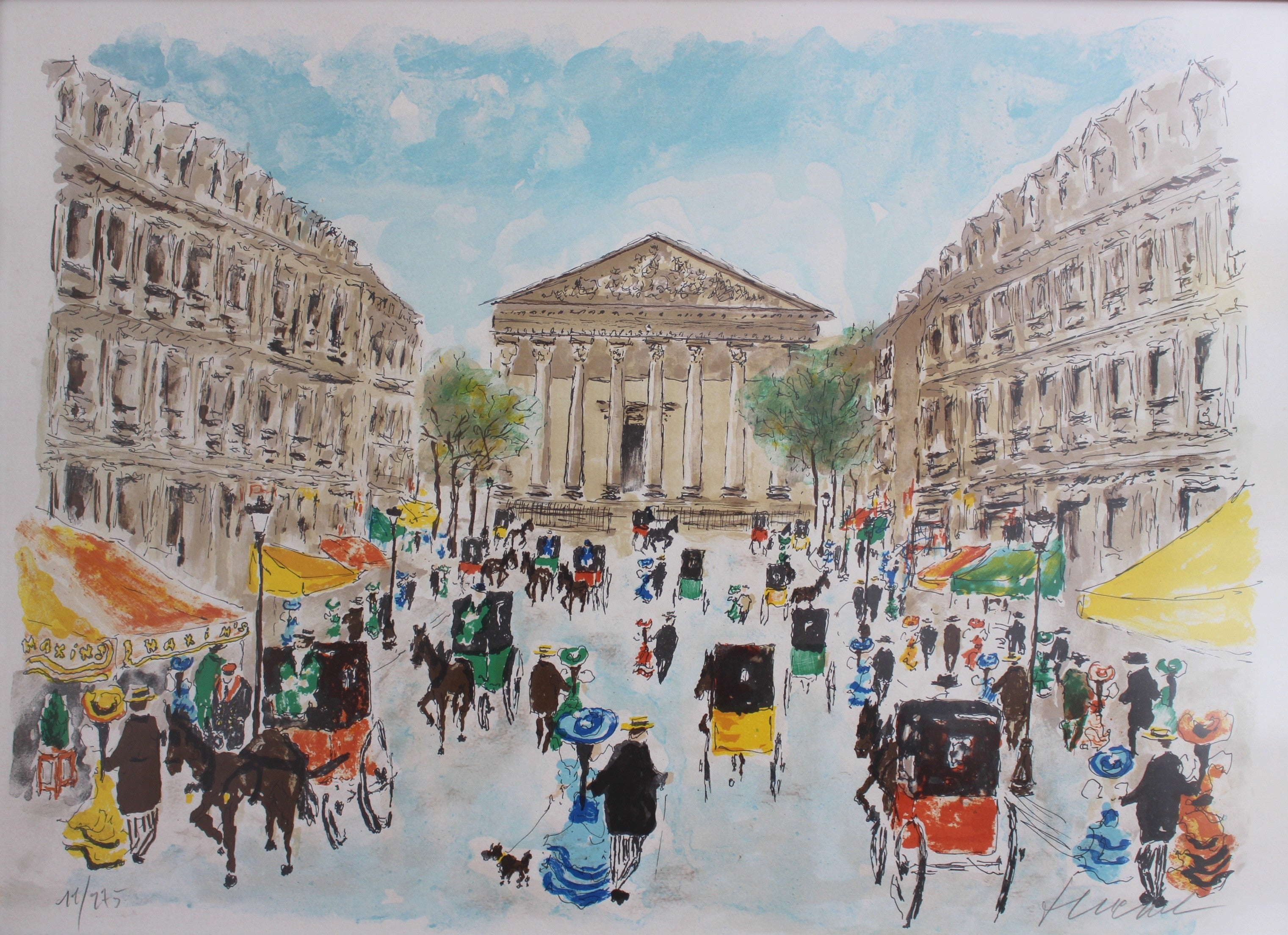 'Place de la Madeleine' Limited Edition Lithograph by Urbain Huchet (1983)