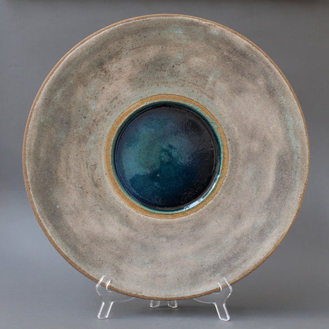 Stoneware Platter with Molten Glass Centre by Bruno Gambone (circa 1980s)