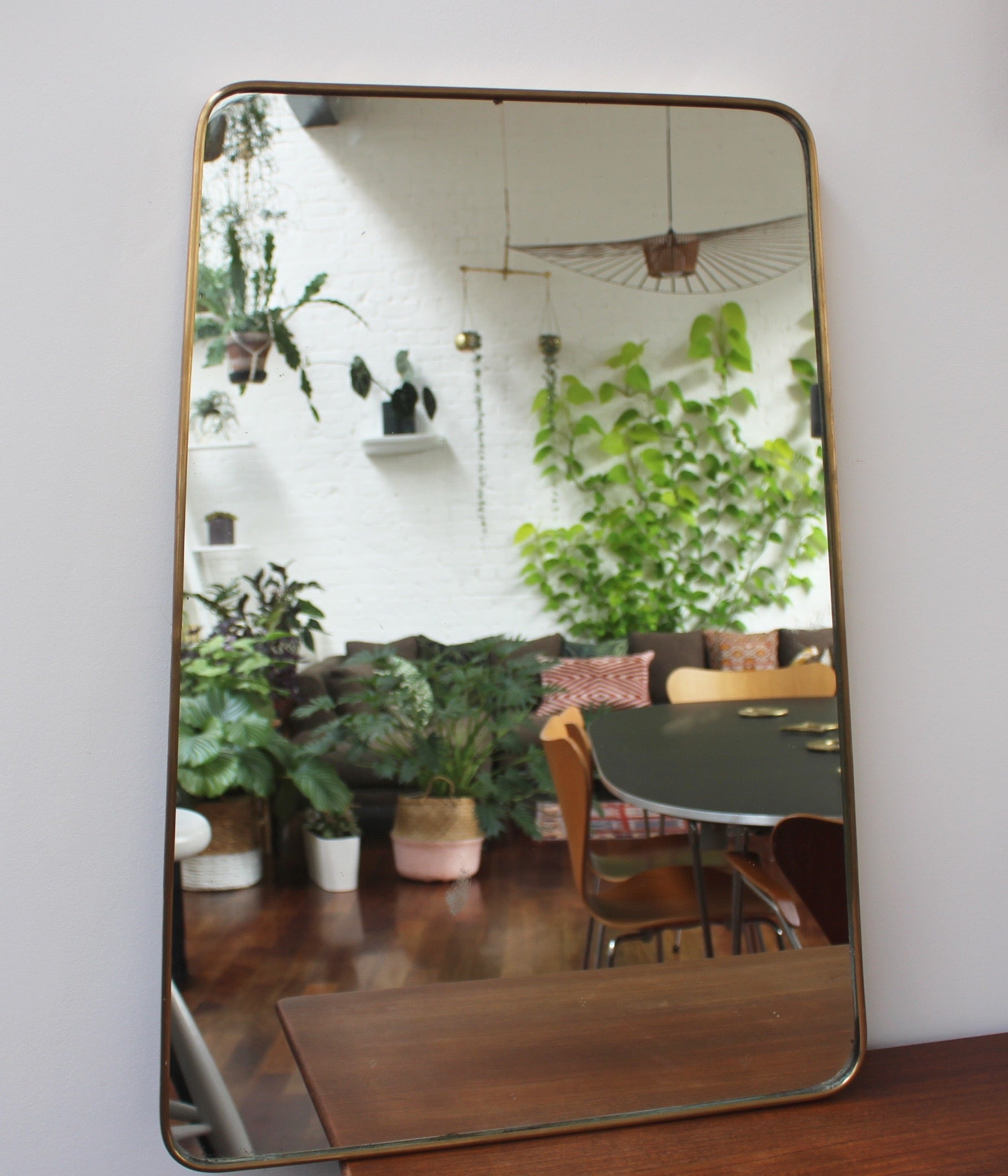 Mid-Century Italian Trapezoidal Mirror with Brass Frame (c. 1950s)