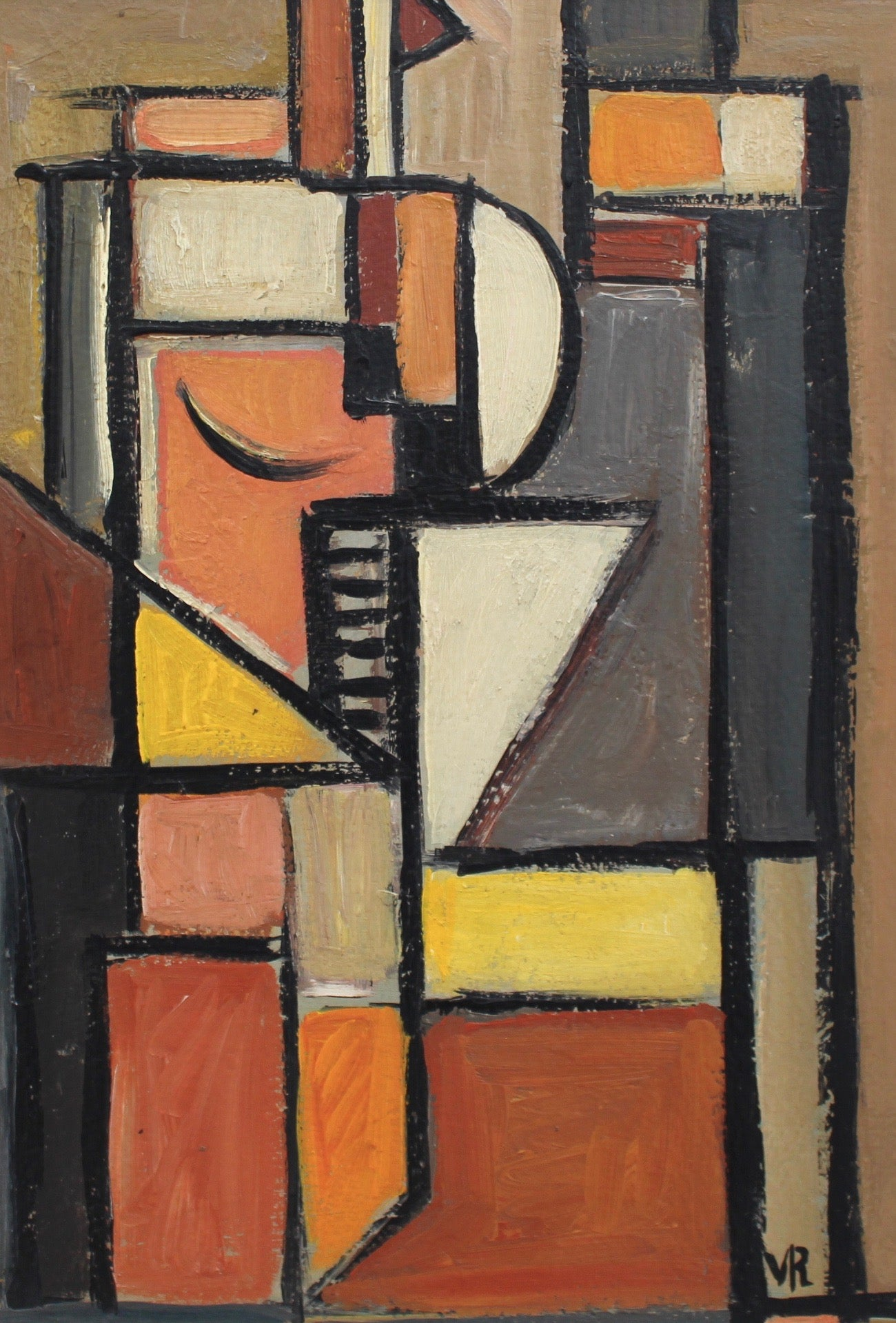 Cubist Composition by VR (circa 1950s - 70s)