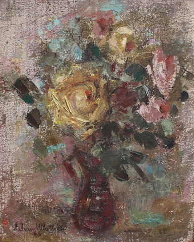 'Bouquet of Flowers in Red Vase' by Lilian E. Whitteker (1968)