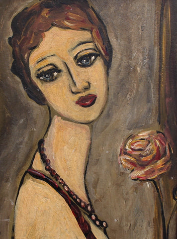 'Pensive Woman with Rose' by Unknown Artist (circa 1940s - 50s)