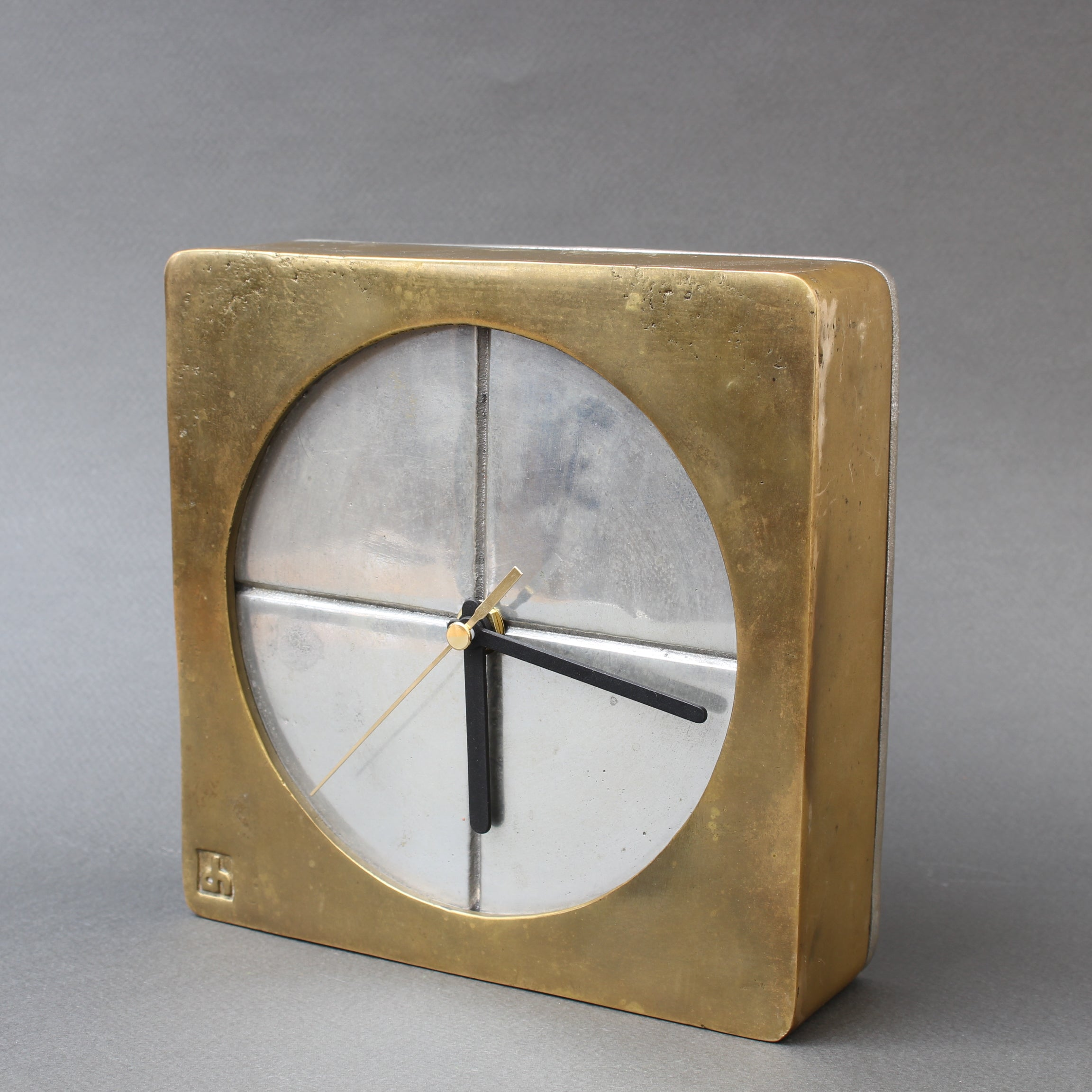 Brutalist Aluminium and Brass Decorative Clock by David Marshall (circa 1980s)