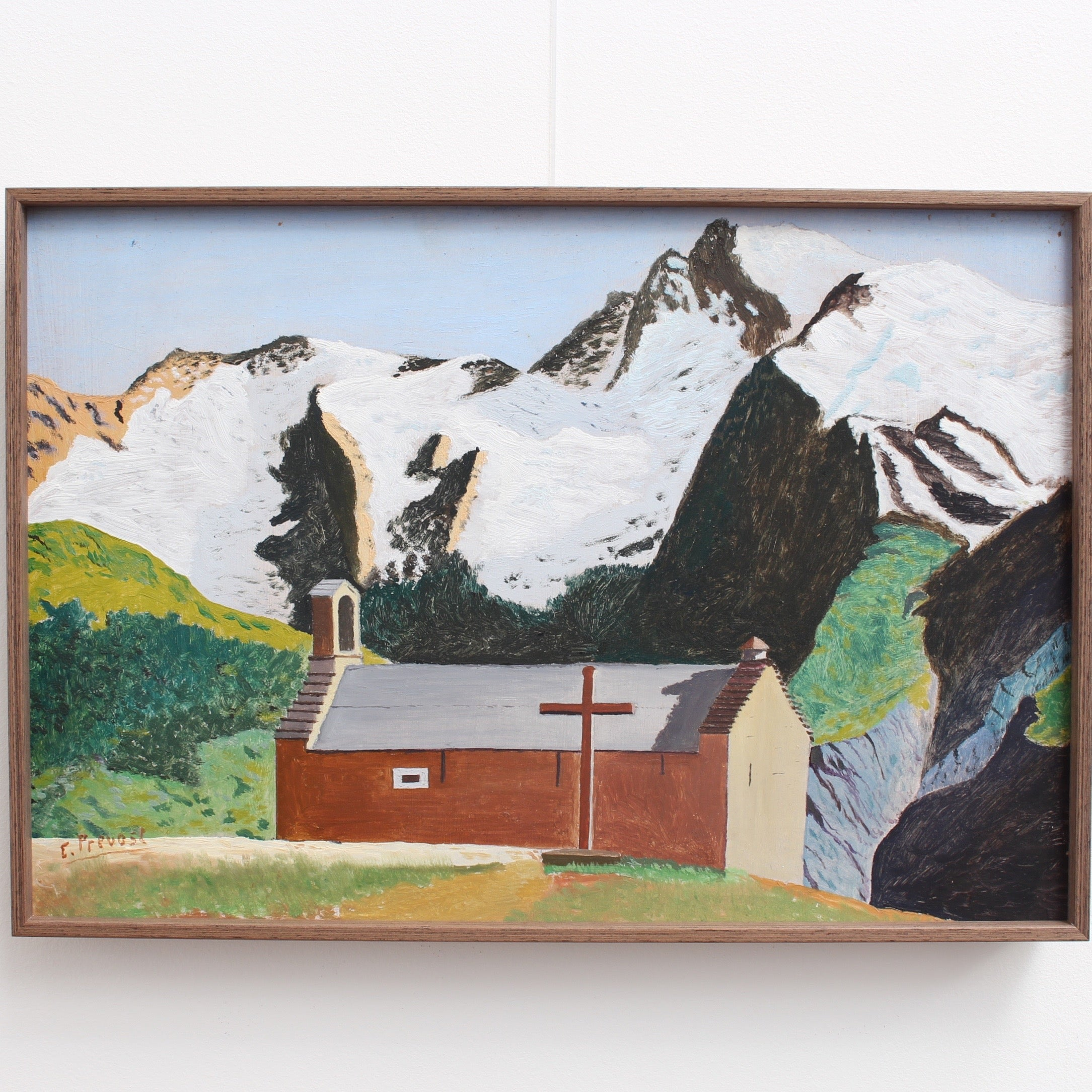 'Chapel in the Swiss Alps' by E. Prevost (circa 1970s)