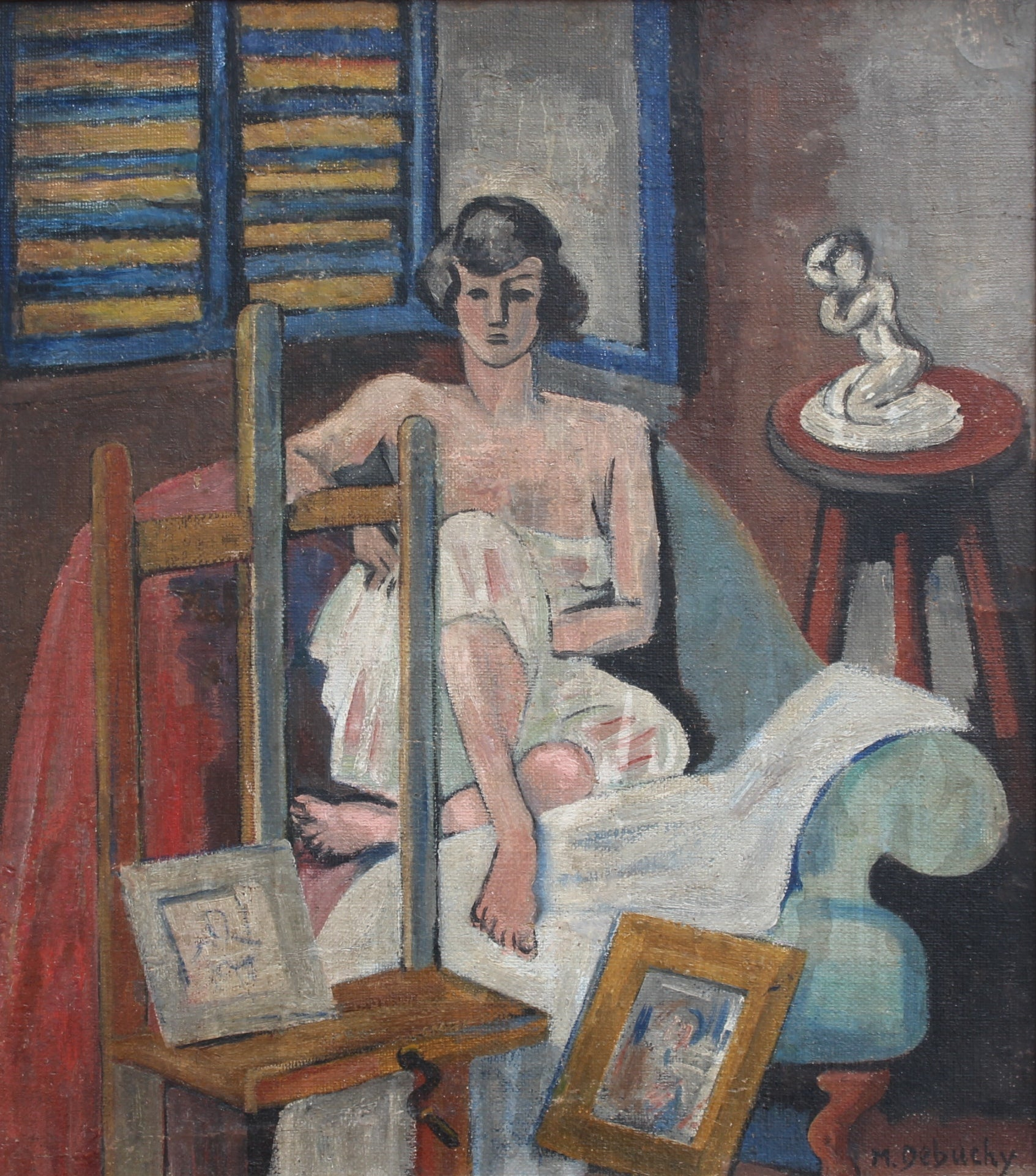 'Seated Woman' by M. Debuchy (c. 1930s)
