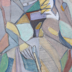 'Cubist Nude Portrait of Seated Young Man' by Kosta Stojanovitch (circa 1950s)