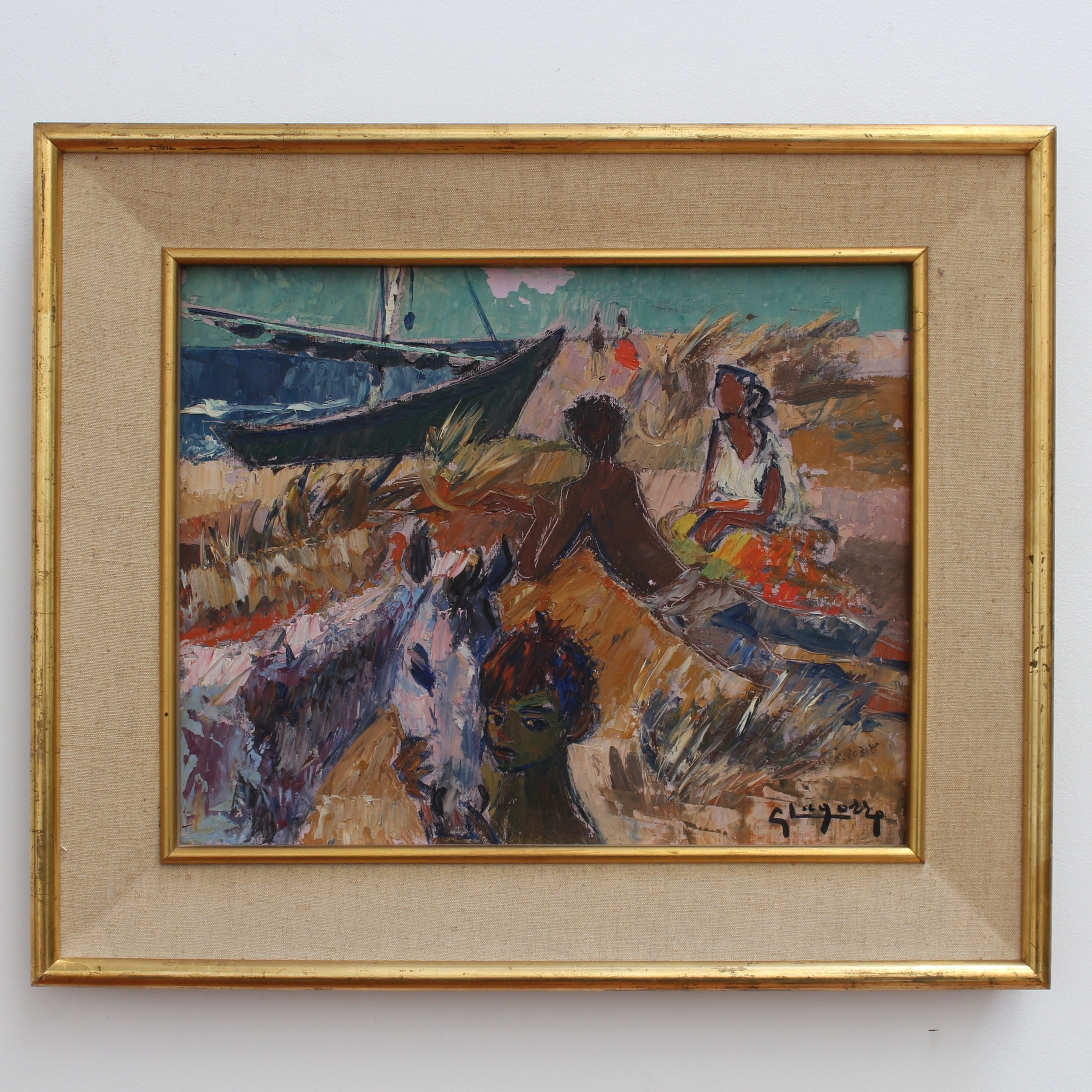 'Gitans sur la Plage (Gypsies on the Beach)' by Gaston Lagorre (1958)