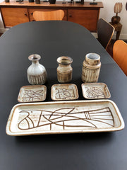 Jacques Pouchain Serving Platter and Small Plate Set (c. 1950s)