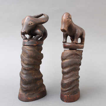 Pair of Water Buffalo Horn and Wood Lime Powder Holders for Betel Nut from Timor Island (circa 1970s)