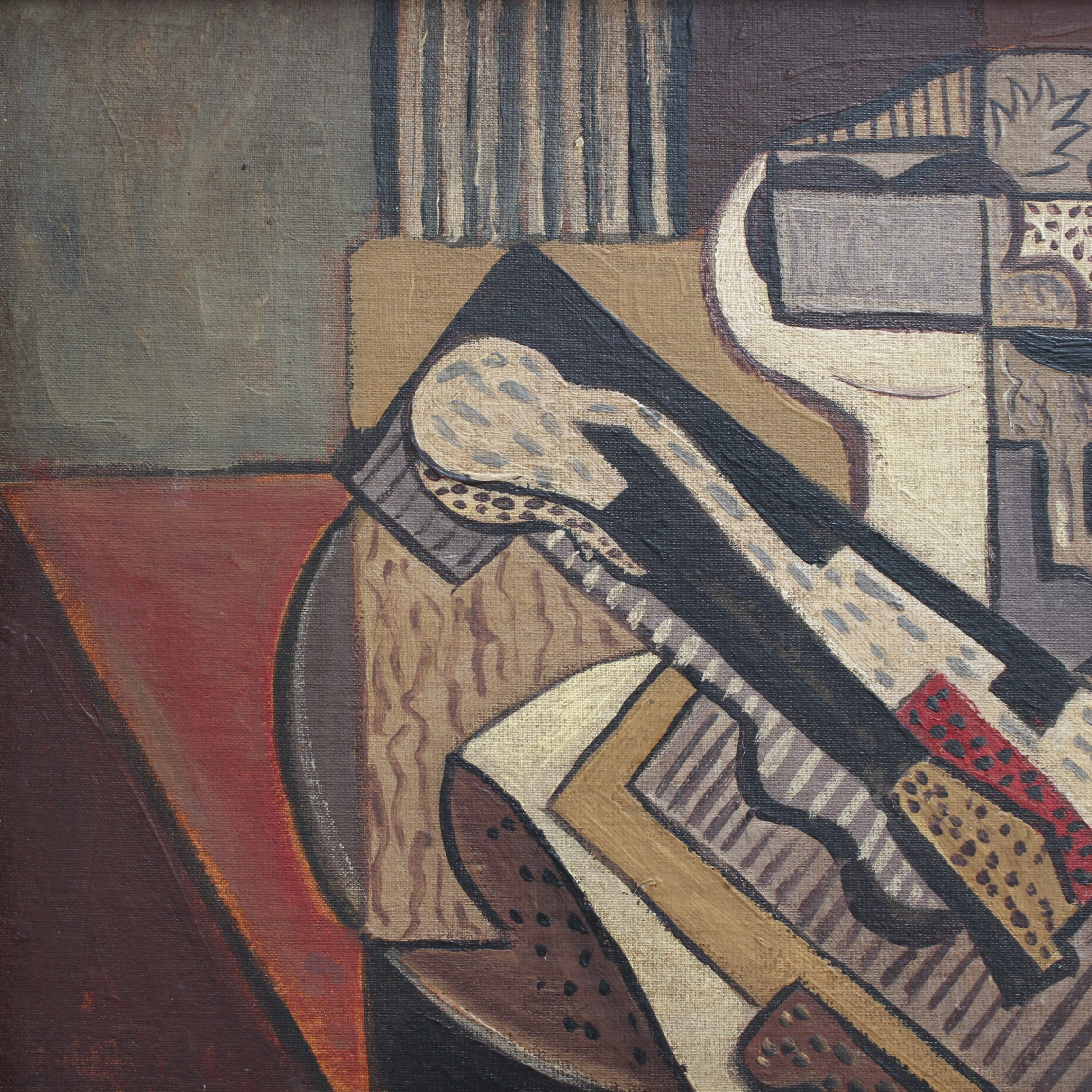 'Cubist Still Life on Table' by Unknown (c. 1950s)