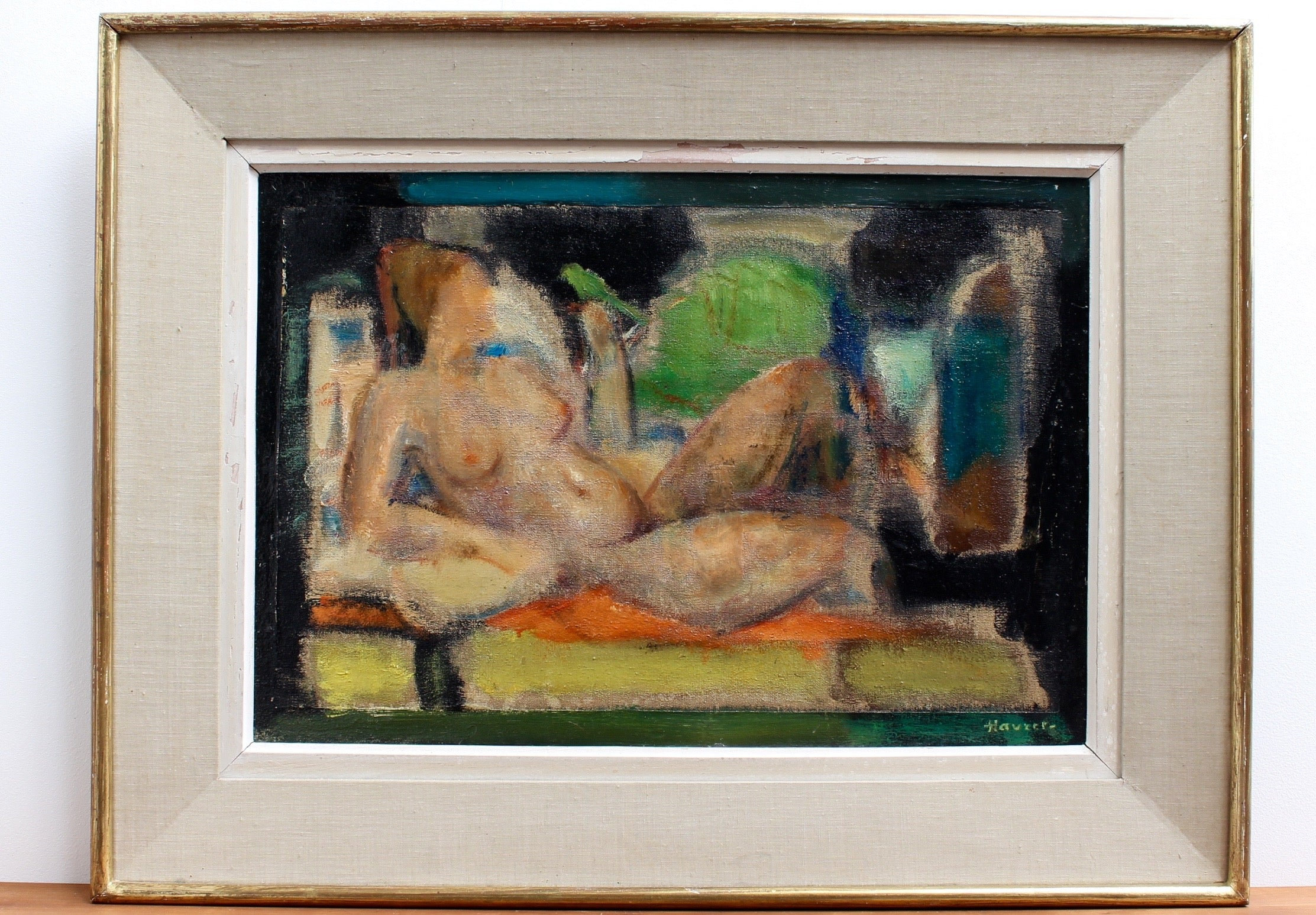 'Reclining Nude with Parakeet' by L Hauet (circa 1950s)