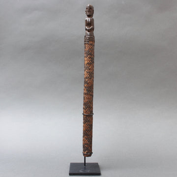 Carved Wooden Ancestor Sculpture with Rattan Body from Borneo (circa 1960s)