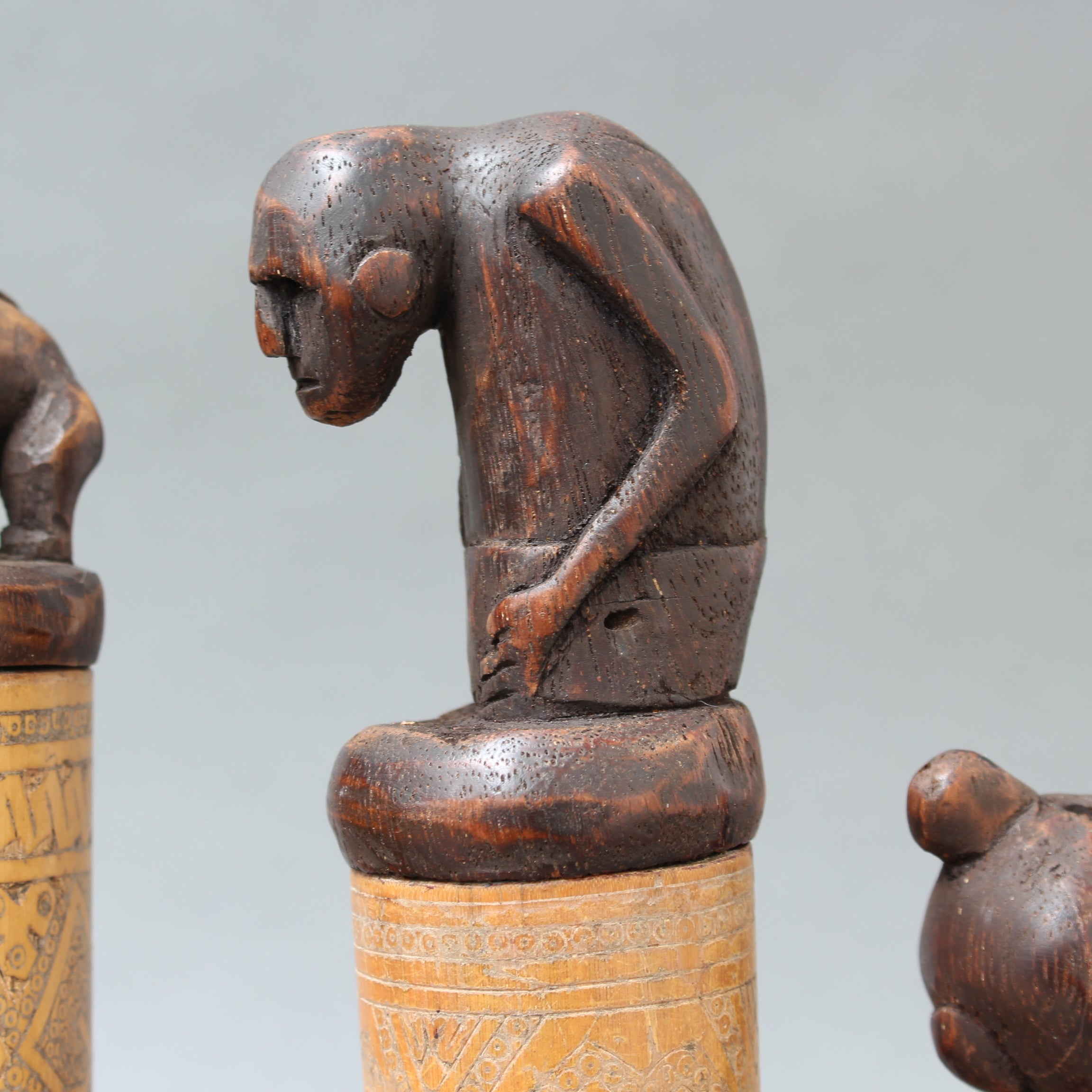 Set of Five Wood and Bamboo Lime Powder Holders for Betel Nut from W. Timor Island, Indonesia (circa 1940s - 60s)