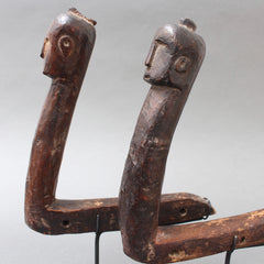 Set of Two Carved Wooden Tools with Human Faces from Nias, Indonesia (circa 1960s - 70s)
