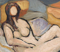 'Reclining Nude in Colour ' by R.M. (circa 1940s - 1960s)