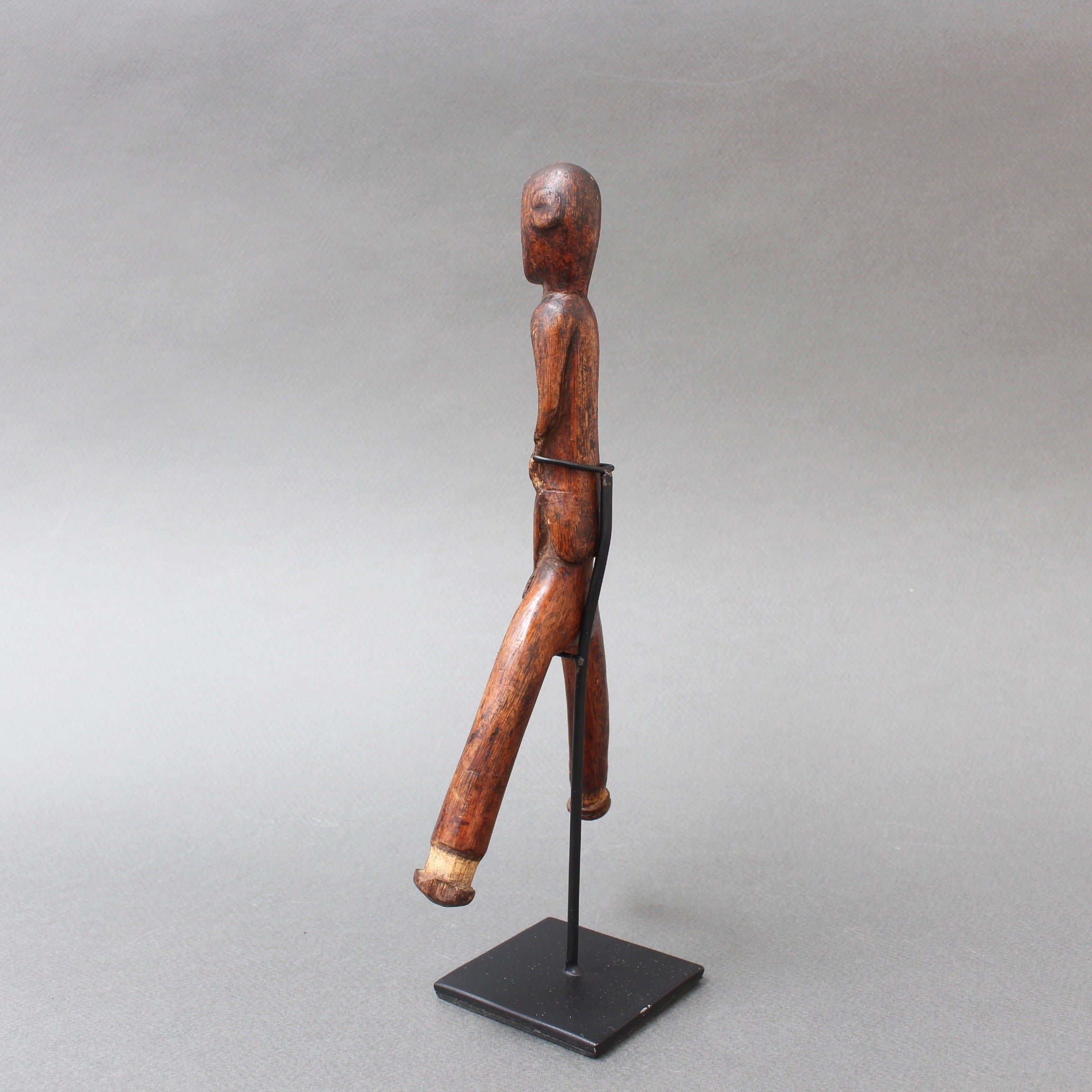 Carved Wooden Slingshot Figure from Timor Island, Indonesia (circa 1970s)
