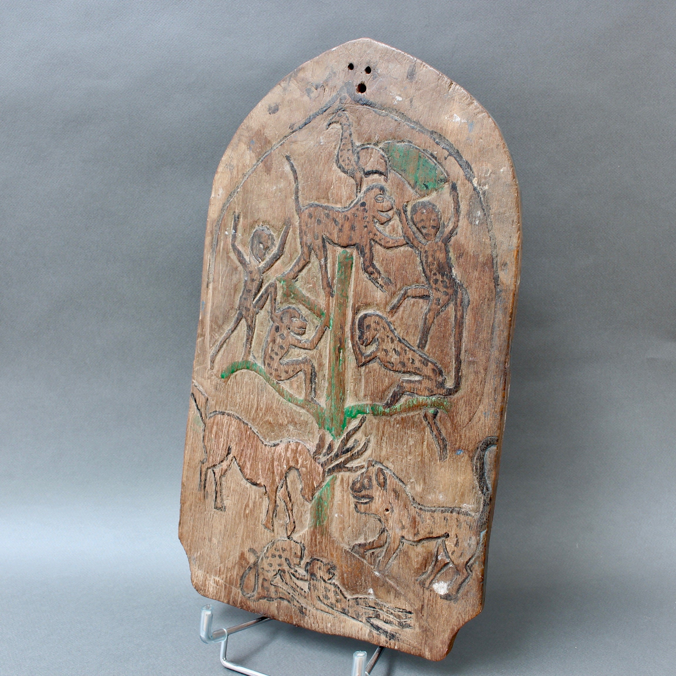 Double-Sided Carved Wooden Blawong Board from Java (circa 1920s - 50s)