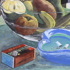 'Still Life with Fruit Bowl and Gitanes' by J. Aira (c. 1940s)