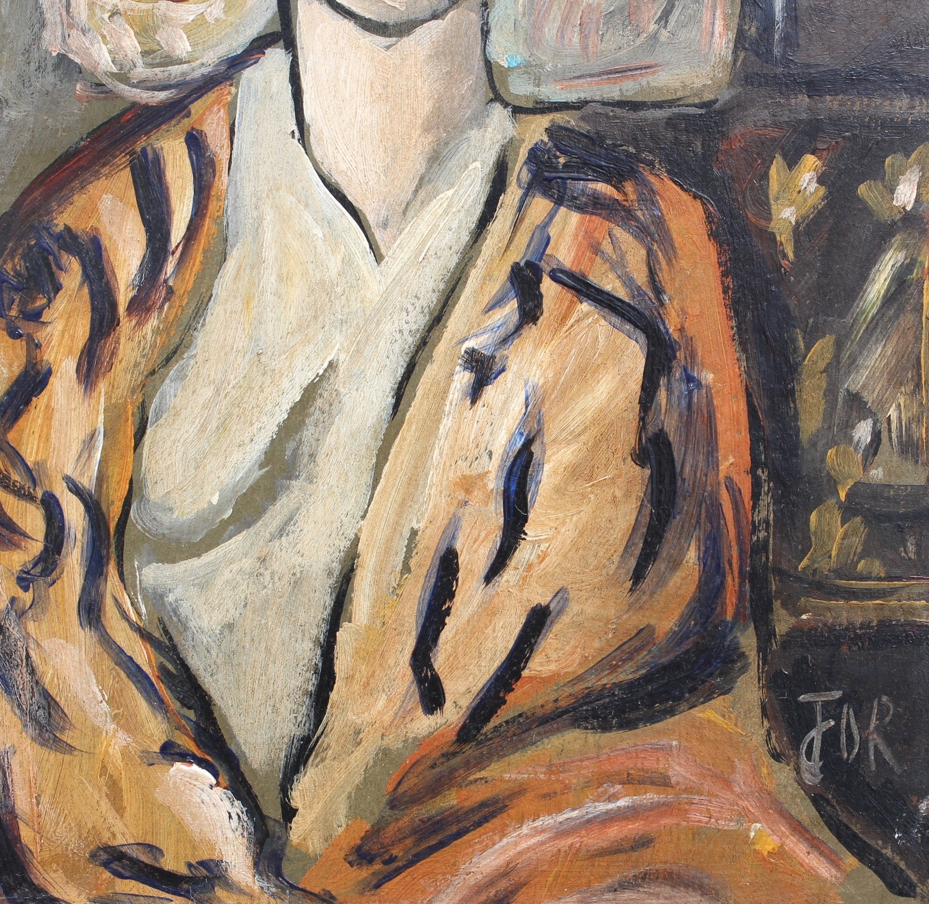 'Flowered Woman in Robe' by Unknown Artist (circa 1940s - 1950s)