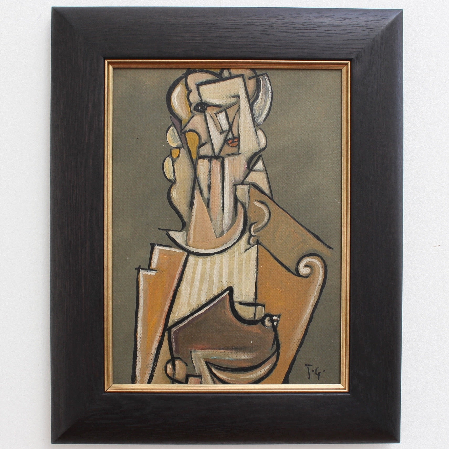 'Musician with Harp' by J.G. (circa 1940s - 1960s)