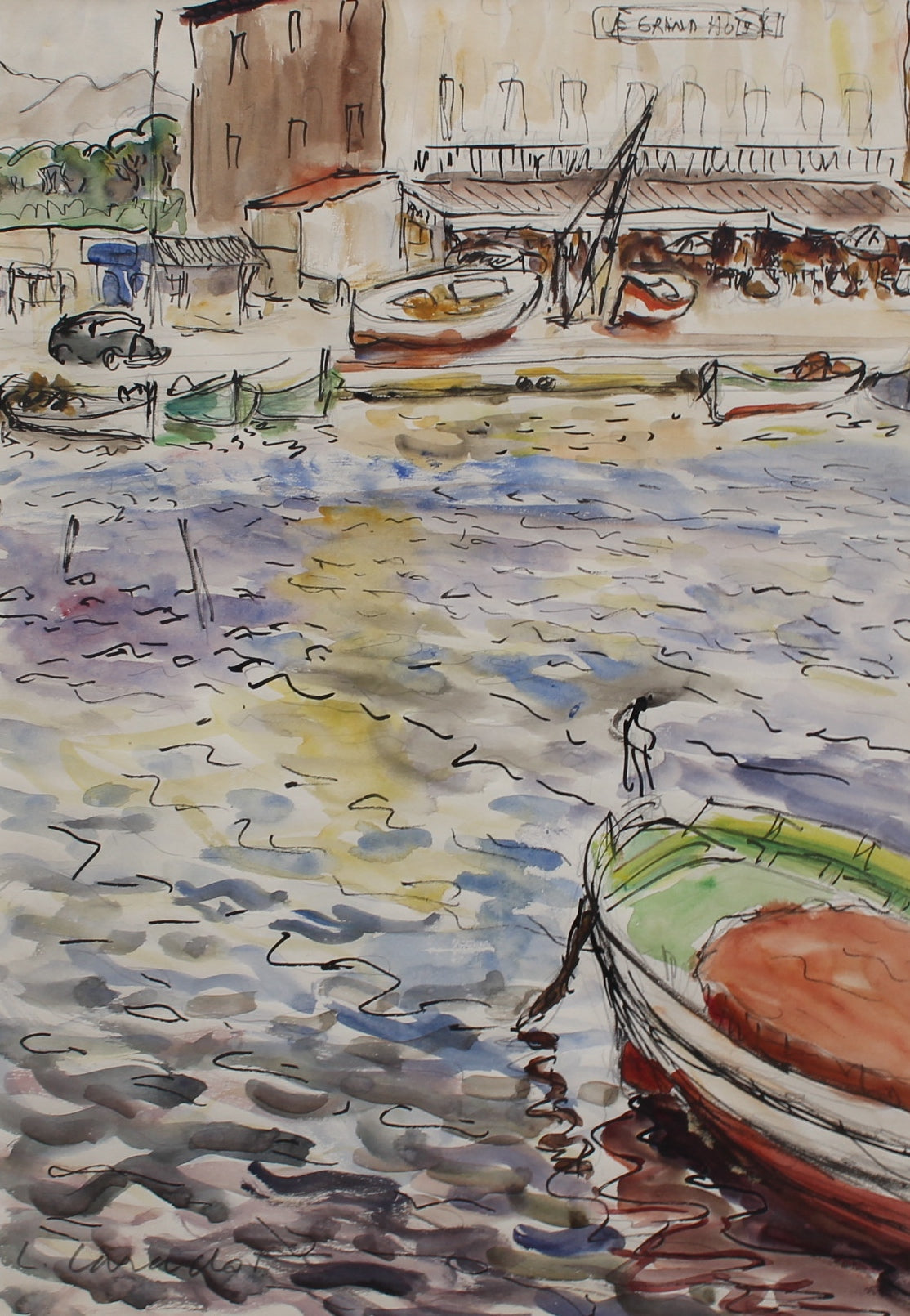 'French Riviera Port' by Louis Carradot (c. 1960s)
