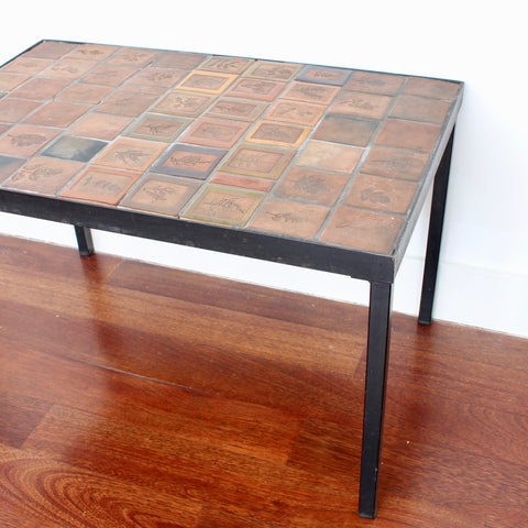 Side Table with Decorative Ceramic Tiles by Roger Capron (circa 1970s)