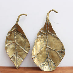 Set of Three Brass Decorative Leaves / Trays by David Marshall (circa 1980s)