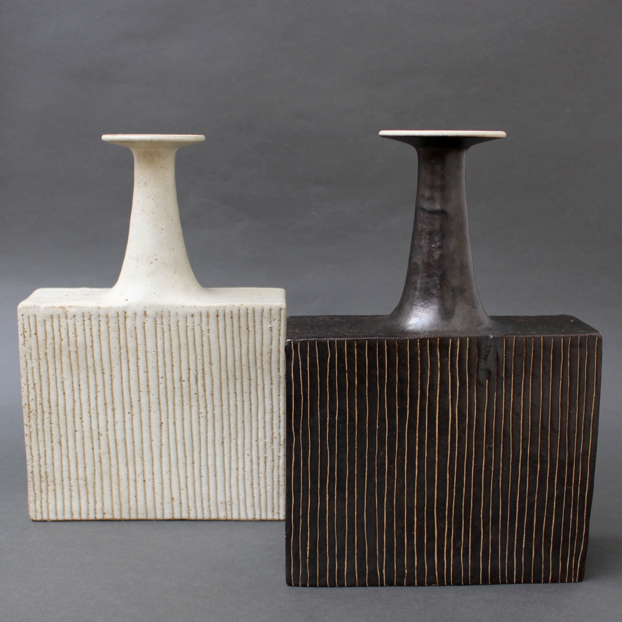 Pair of Ceramic Vases with Line Motif by Bruno Gambone (circa 1970s)