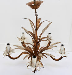 French Decorative Tole Wheat Sheaf Chandelier (circa 1960s)