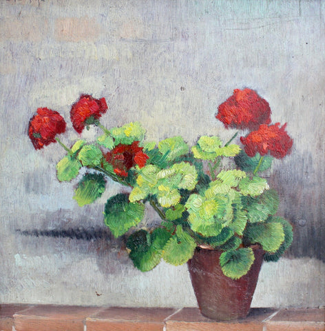 'Still Life of Potted Plant with Red Flowers' by Valentino Ghiglia (circa 1940s)
