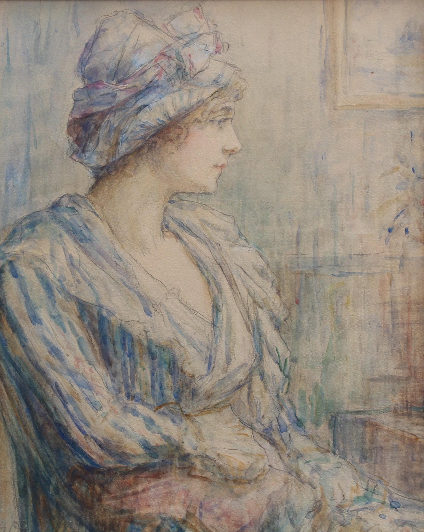 'Portrait of a Young Woman in Bust' by Sara Page (early 1900s)