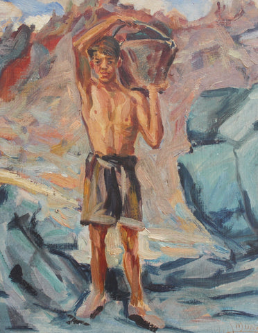 'Portrait of Boy-Haulier With Bucket' by G. Amore (1950)