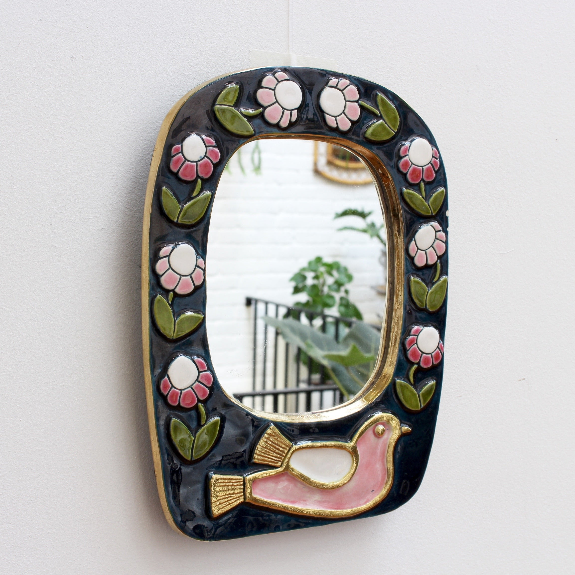 Ceramic Wall Mirror with Flower Motif and Stylised Bird by François Lembo (circa 1970s)