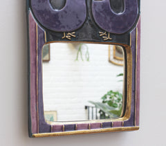 Decorative Ceramic Wall Mirror with Stylised Birds by François Lembo (circa 1970s)