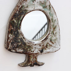 Ceramic Wall Mirror in Female Form by Albert Thiry (circa 1960s)