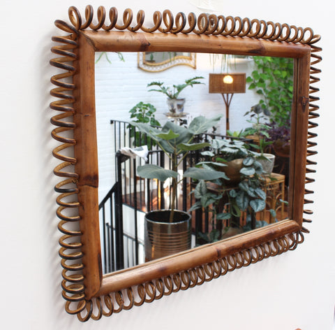 Vintage Italian Rattan and Bamboo Rectangular Mirror (c. 1960s)