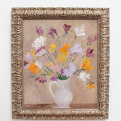 'Bouquet of Flowers with White Pitcher' by Thérèse Debains (circa 1930s - 40s)
