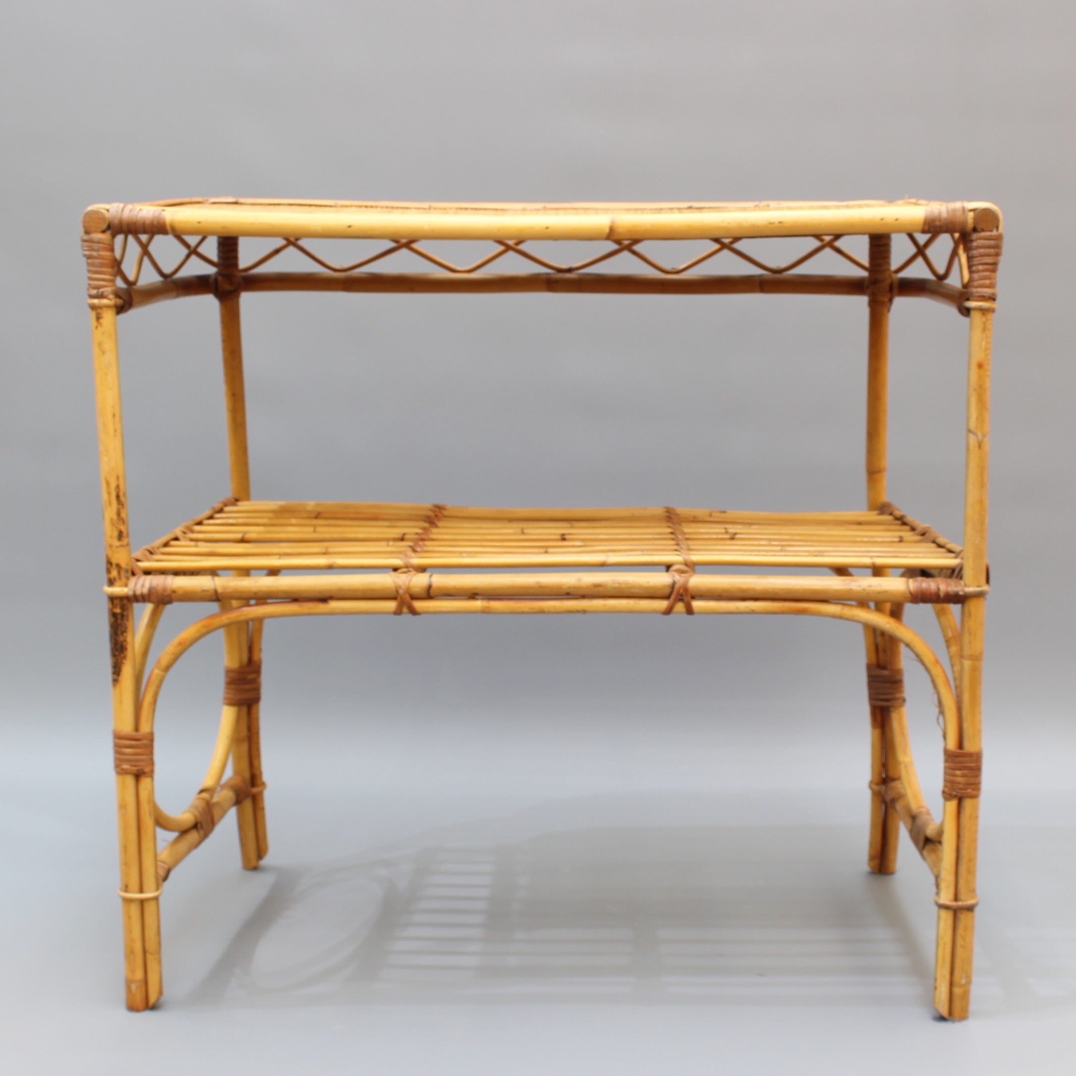 Italian Rattan and Bamboo Console Table (circa 1960s)