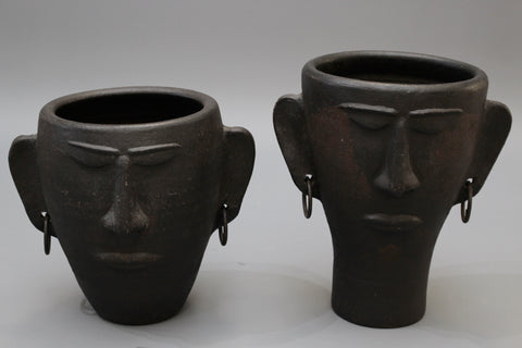 Pair of Black Ceramic Head Sculptures / Vases with Earrings (circa 1950s)