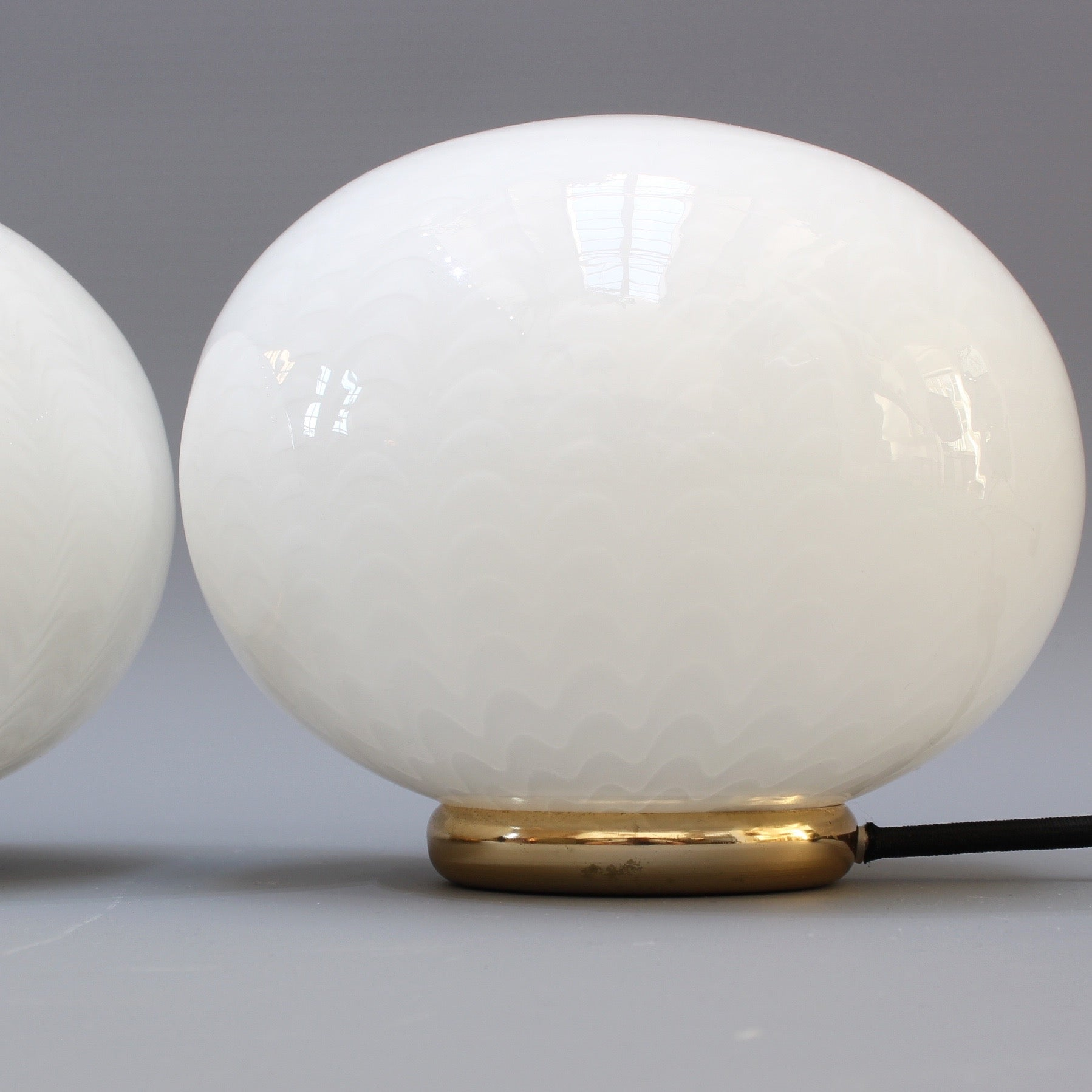 Pair of Italian Murano Glass Globe Table Lamps (circa 1970s)