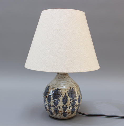 Mid-Century Ceramic Table Lamp with Blue Flower Motif (circa 1960s)