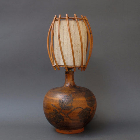 Ceramic Lamp by Jacques Blin with Original Rattan Shade (c. 1950s)