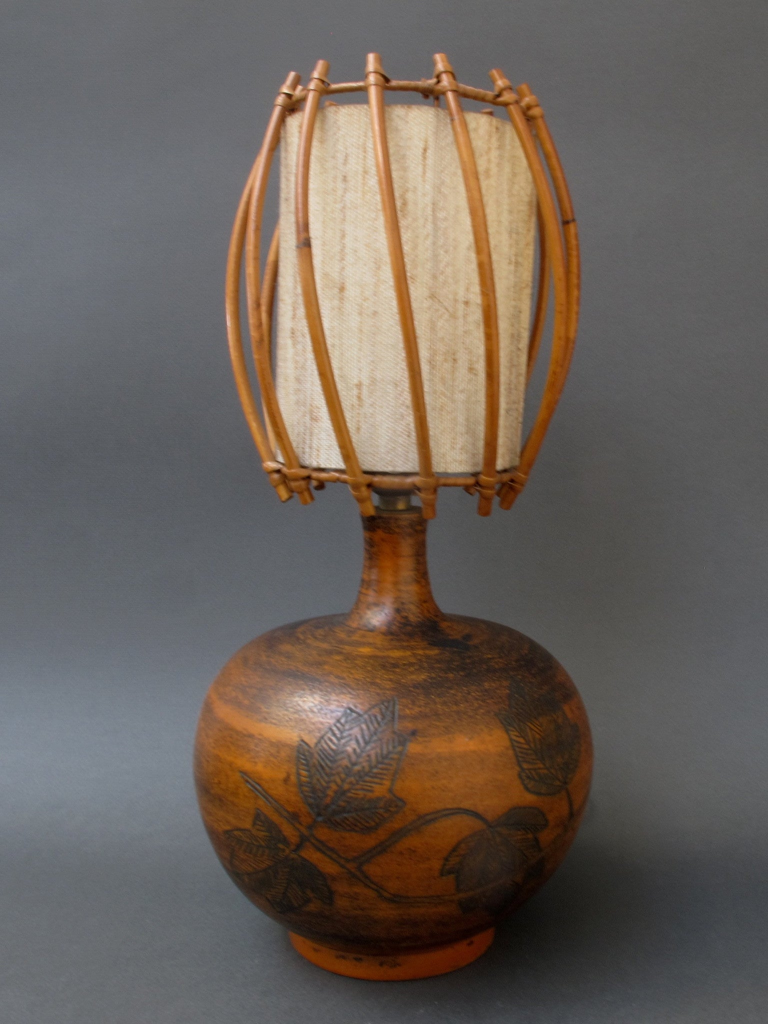 Ceramic Lamp with Leaf Motif and Original Rattan Shade by Jacques Blin (circa 1950s)