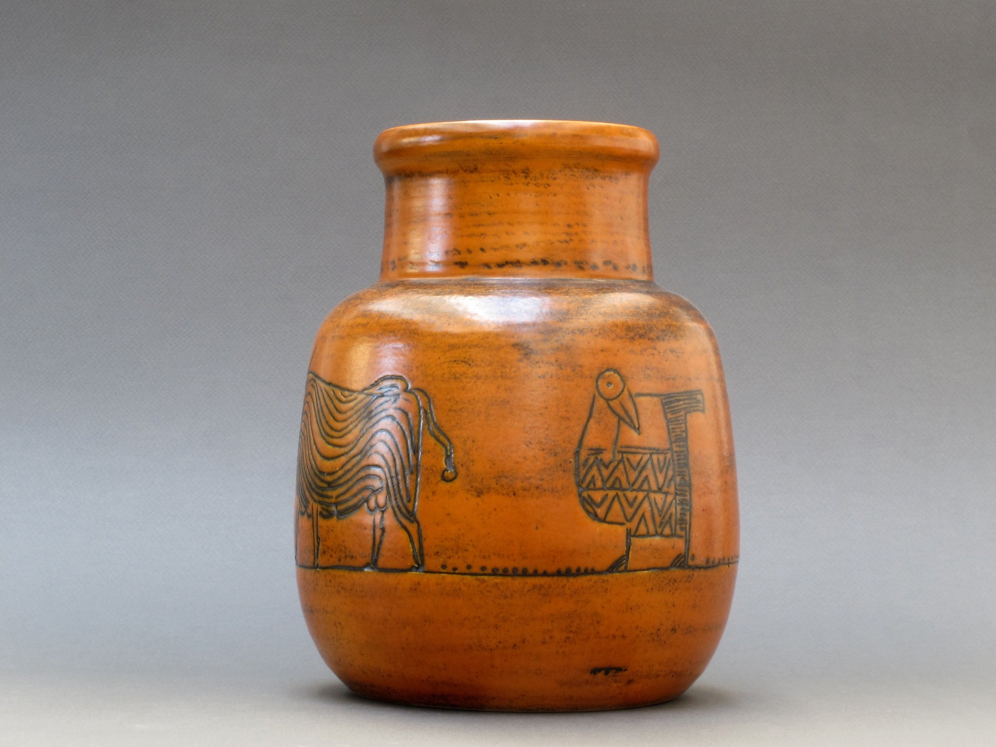 Burnt-Orange Vase by Jacques Blin with Animal Motifs (c. 1950s)