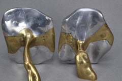 Brass and aluminium Brutalist Style Bookends by David Marshall (c. 1970s)