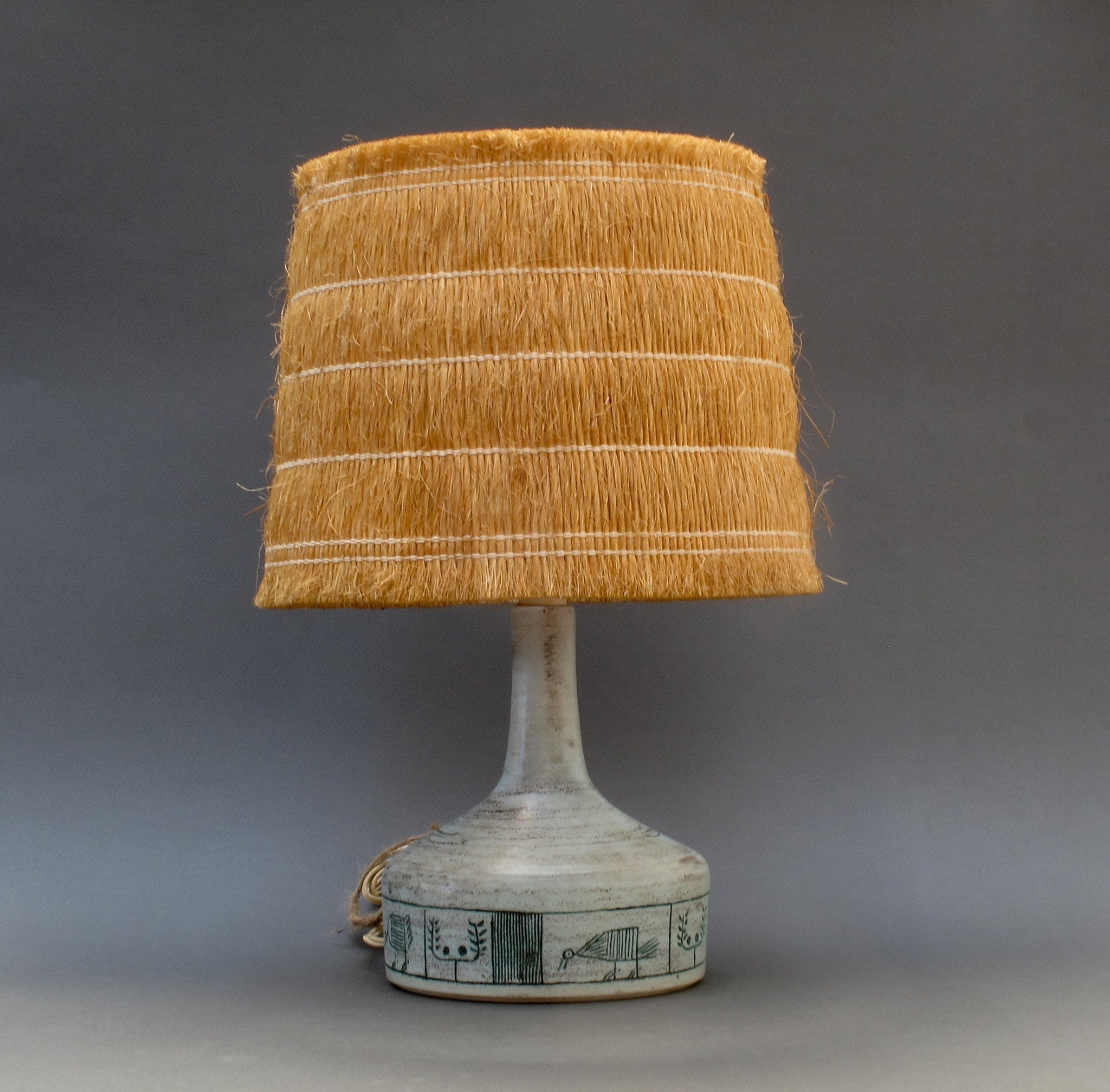 Ceramic Lamp by Jacques Blin with Original Raffia Shade (c. 1950s)