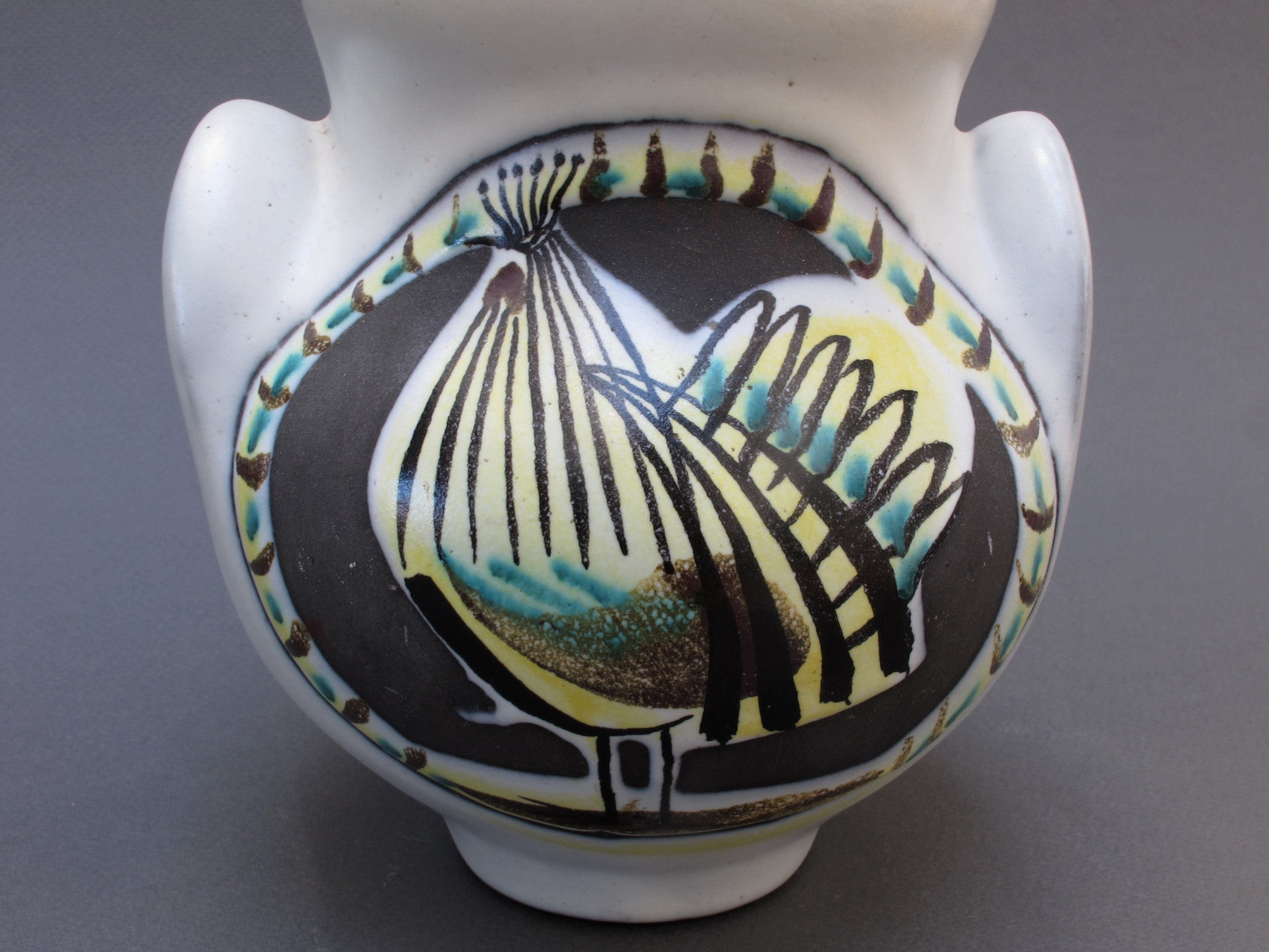 Ceramic 'Eared' Vase (Vase à Oreilles) with Rooster by Roger Capron (1950s)