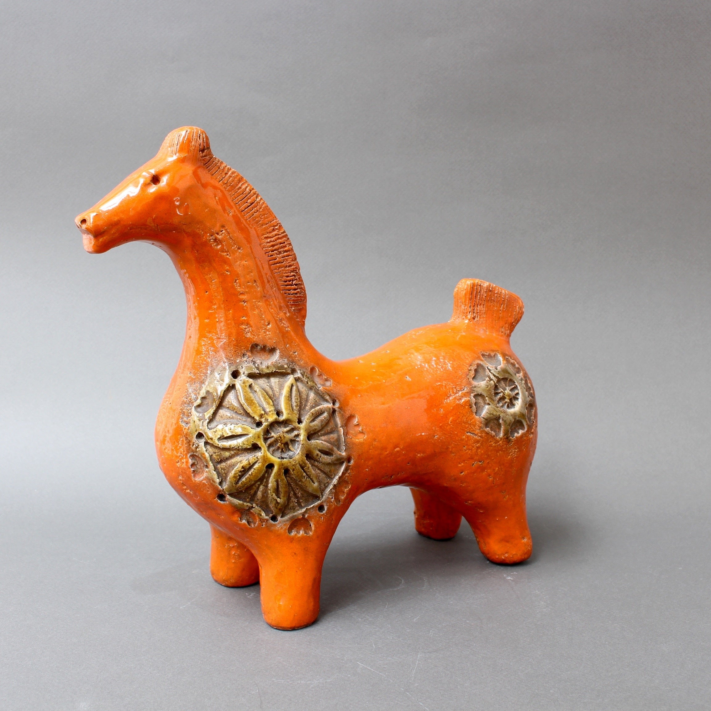 Italian Ceramic Orange Horse by Aldo Londi for Bitossi (circa 1960s)