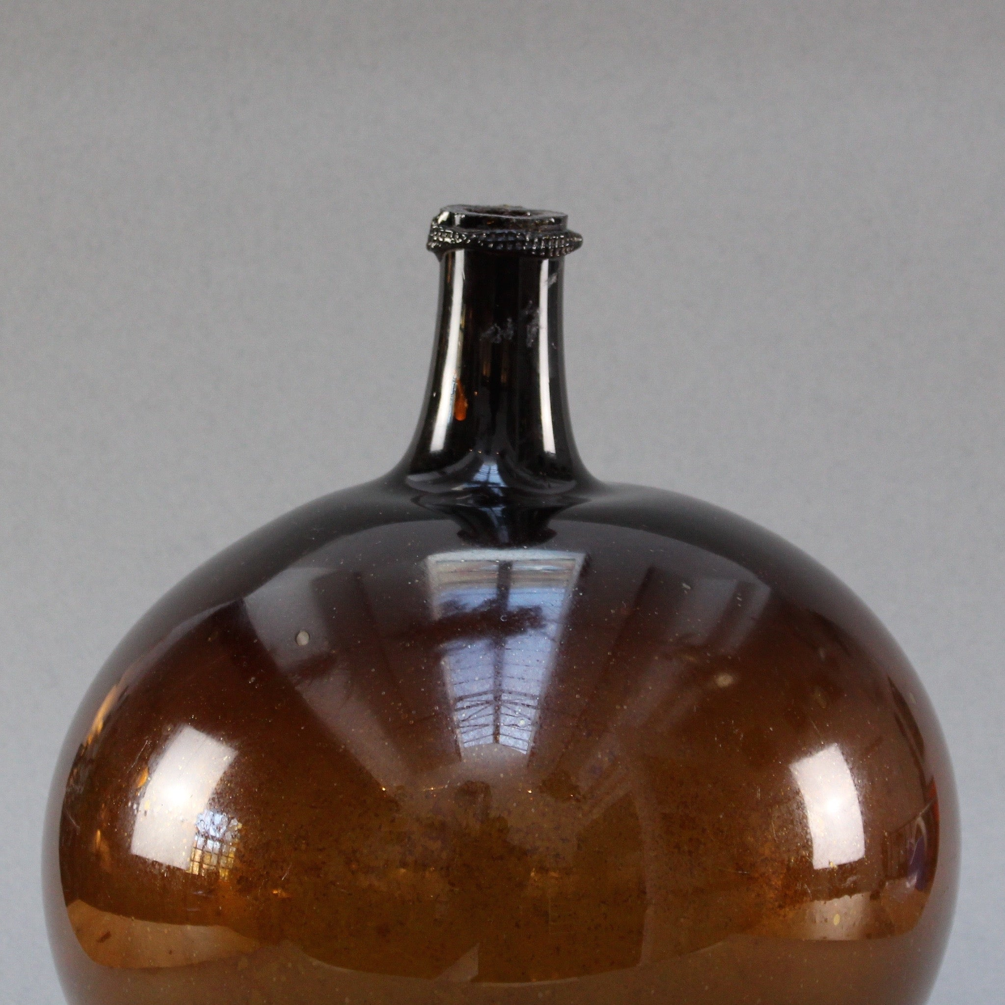 Handblown Amber Glass Demijohn (c. 1820-1850)